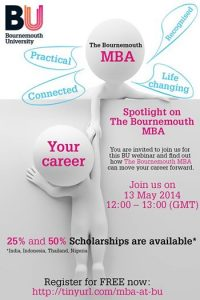 Image from Spotlight on The Bournemouth MBA – free webinar Tuesday 13 May 2014