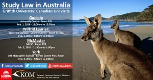 Image from Griffith Law School – Upcoming Canadian University Visits