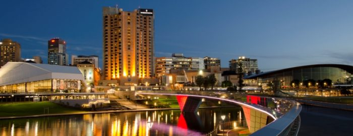 A scenic shot of nighttime Adelaide