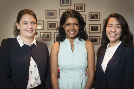 Samantha Nean, Naomi Midha and Emi Christensen look forward their graduate program with top law law firm.