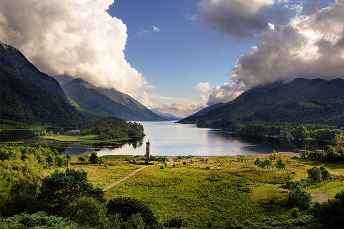 View of the Glenfinnan Monument and Loch Shielin Scotland.